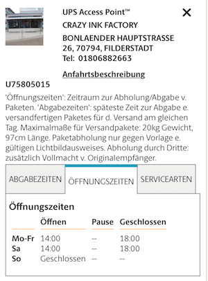 Ups Servicepoint In Der Crazy Ink Factory Bonlanden Filderstadt